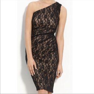 Maggie London One shoulder black lace dress